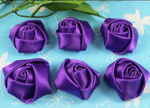 18 Pcs Big Satin Ribbon Rose Flower DIY Craft Appliques