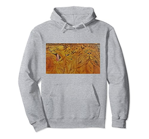 Unisex THE AFRICAN LIONS PULL OVER HOODIE Small Heather Grey