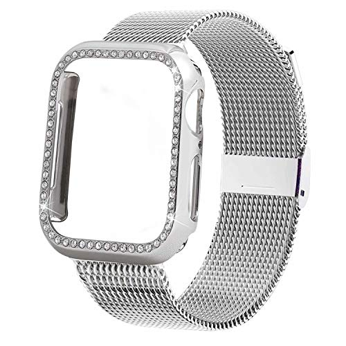 INTENY Compatible for Apple Watch Band 42MM with Bling Screen Protector, Women Stainless Steel Mesh Strap with Protective Crystal Diamond Case Compatible for iWatch Series 4/3/2/1 (Silver, 42mm)