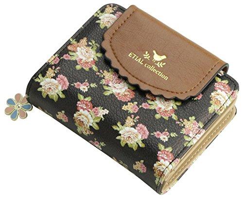 ETIAL Women's Vintage Floral Zip Mini Wallet Short Design Coin Purse ()