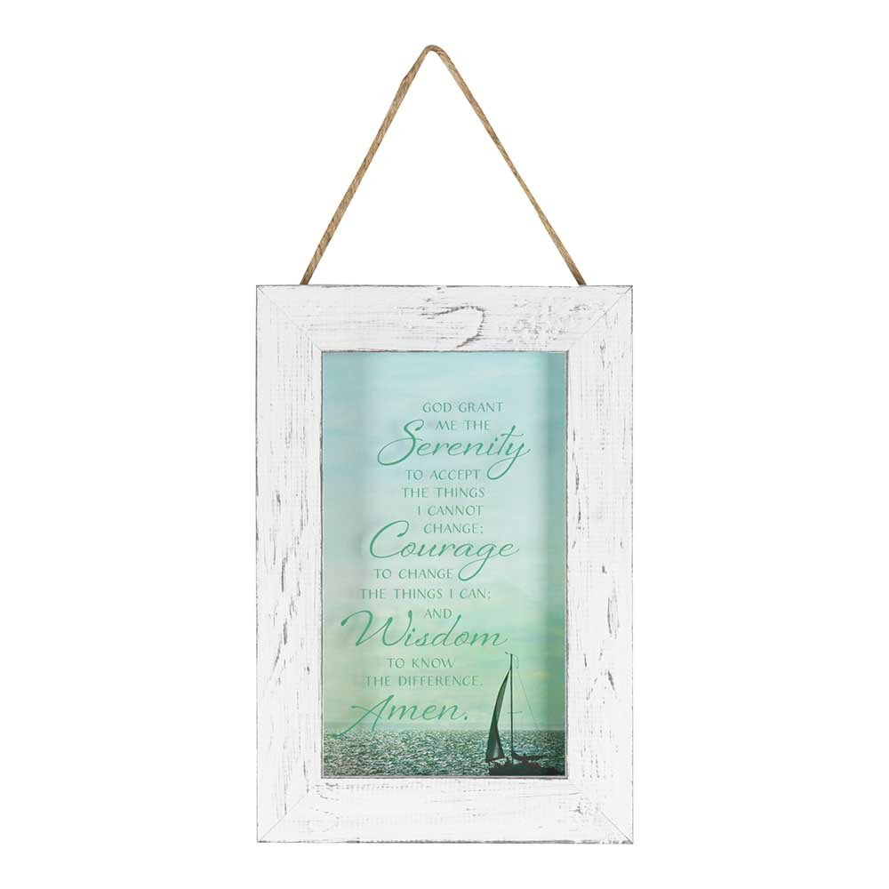 Serenity Prayer on Calm Sea 9 x 13 Wood Framed Wall Art Sign Plaque