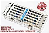 German Double Button Detachable Sterilization Cassette for 5 Instruments Blue [CYNAMED]