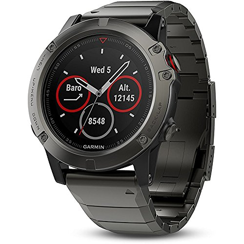 Garmin Fenix 5X Sapphire Multisport 51mm GPS Watch Slate Gray with Metal Band (010 01733 04) + 1 Year Extended Warranty + Silicon Wrist Band Green + Universal USB Travel Wall Charger