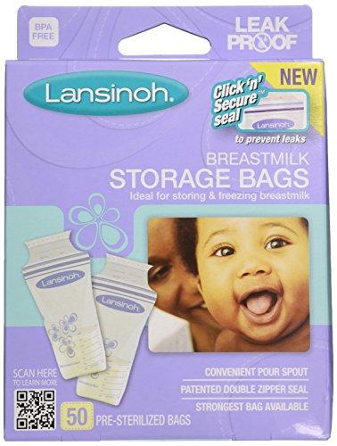 Lansinoh Breast Milk Storage Bags, 2 packs (50 count each)