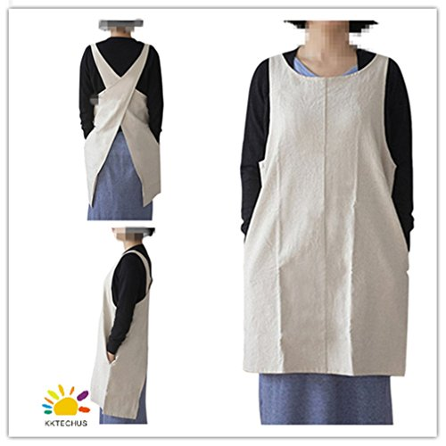 KKTech Japan Style Soft Cotton Linen Apron Solid Color Halter Cross Bandage Aprons Kitchen Cooking Clothes (Style Apron)