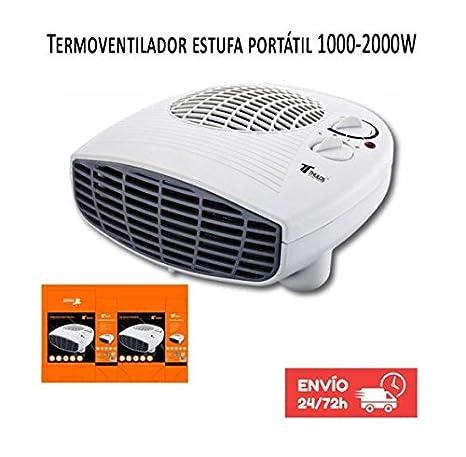 Calefactor Termoventilador Estufa portatil 1000-2000W Termostato. Protección contra sobrecalentamiento. Función de aire frío: Amazon.es: Hogar