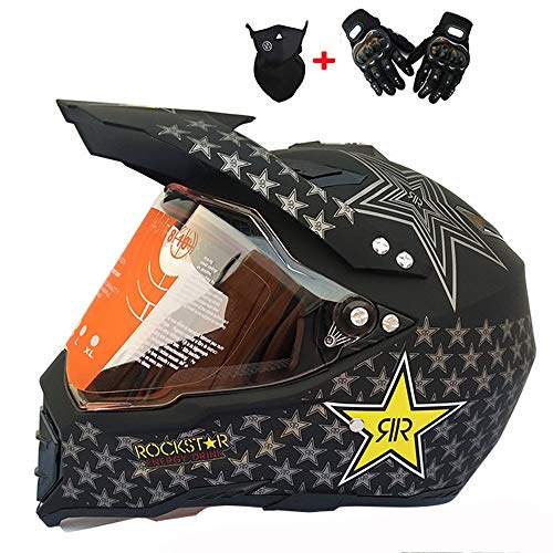 DYM258 Motocross Helmet D.O.T Approved Full Face Motorcycle Helmet Gift Transparent Lens Gloves and Glasses for ATV/MX/DH/MTB/UTV/Enduro Endurance Race,A,L (Best Mtb Enduro Gloves)