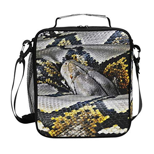 Snake Reticulated Python Camouflage Messenger Lunch Bags Shoulder Tote for Kids Women