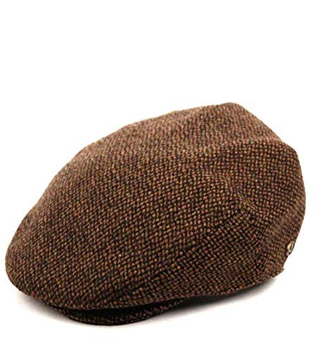 Epoch Men's Classic Newsboy Cap, Flat Ivy Hat, Snap Brim Herringbone Tweed Cap (Large, Brown)
