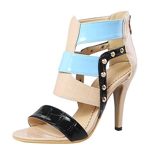Mee Shoes Women's Warm Stiletto Zip Sandals apricot