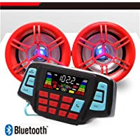 UTV ATV Bluetooth Amplifier Sound System Hand-free Speakers FM USB Audio System Stereo 3 Inch Speakers 12V Motorcycle Waterproof Audio FM Radio Stereo Speaker For iPhone/iPod/MP3 …