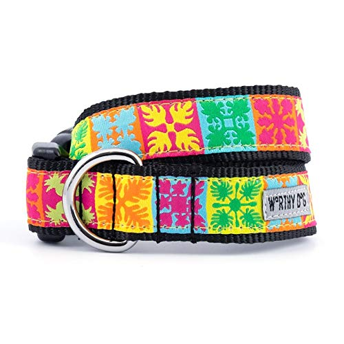 The Worthy Dog 21958-4215MD Hawaiian Patchwork Botanical Pattern Adjustable Designer Pet Dog Collar Designer Hawaiian Dog Collar