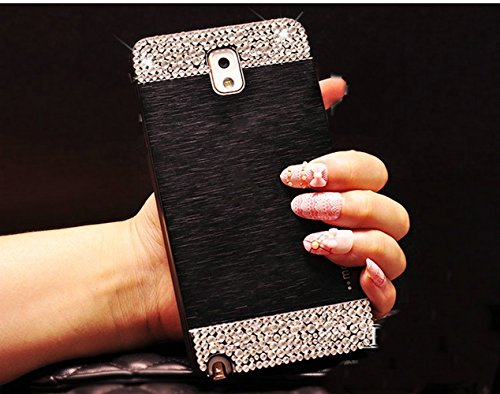 Galaxy Note 3 Case,Beauty Luxury Diamond Hybrid Glitter 3D Bling hard Shiny Sparkling with Crystal Rhinestone Brushed Metal Aluminum PC Back Cover Case for Samsung Galaxy Note 3 + Bonus Top Selling Logo Stylus (samsung Galaxy Note 3 N9000, Black + Bling)