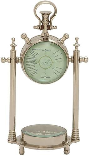 Deco 79 Smart Aluminum Glass Table Clock Compass Aluminium Compss 6 W, 11 H-24541, 6 x 11