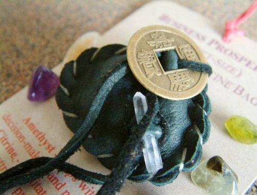 BUSINESS PROSPERITY CRYSTAL MEDICINE BAG Leather Pocket Pouch + Reiki Gemstones