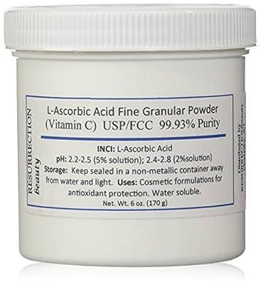 L-Ascorbic Acid Powder (Vitamin C), 6 oz. Jar. For Use in Serums and Cosmetic Formulations