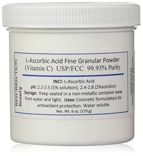 L-Ascorbic Acid Powder (Vitamin C), 6 oz. Jar. For Use in Serums and Cosmetic Formulations