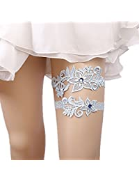 WoodBury Wedding Floral Garter Set Bridal Garter Belts Blue