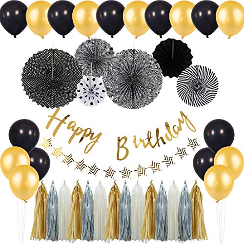 310 Pa Set - KREATWOW Black Gold Birthday Balloons Decorations Black Hanging Paper Fans Happy Birthday Banner for 18th 20th 30th 40th 50th 60th 70th Birthday Decorations