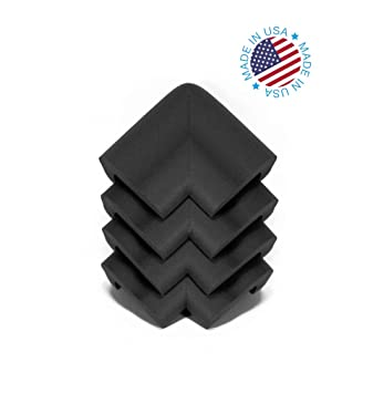 KidKusion 4-Piece Safety Corner Cushion; 4 Pack Black; Child Proofing Corner in
