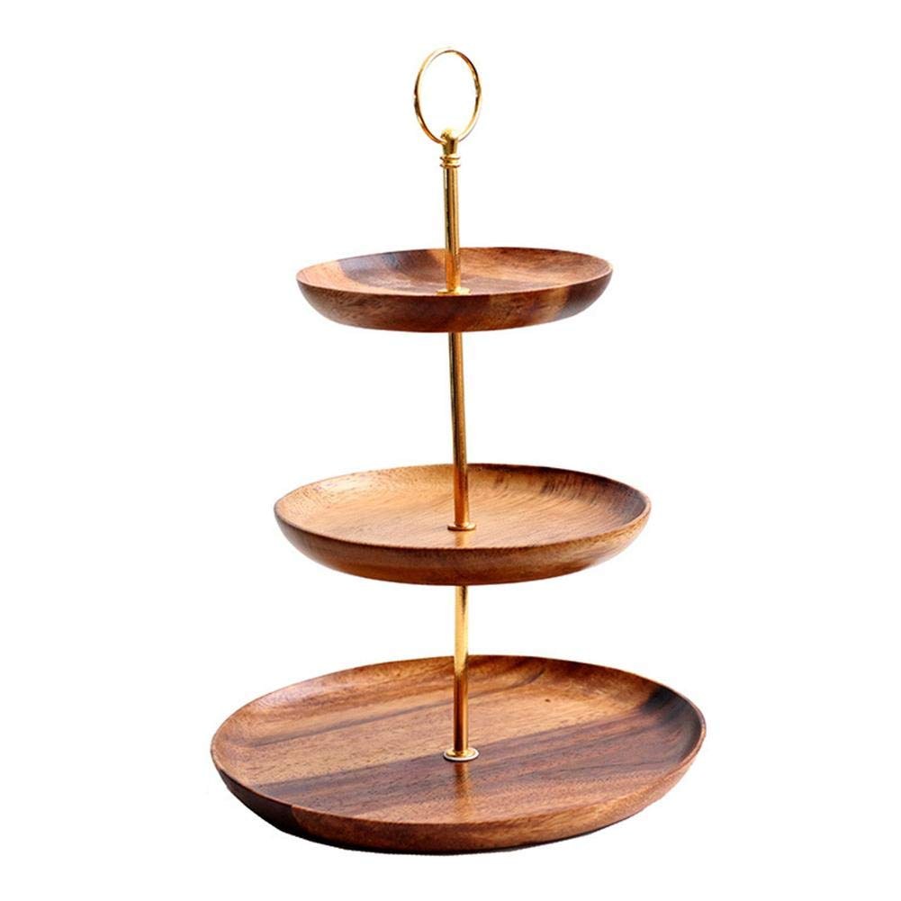 Sanmubo 3 Tier Dessert Trays Multifunctional Wooden Fruit Dishes And Living Room Candy Trays For Storage And Display Unique Home Decoration Cake/Dessert/Pastry Stand Serving Tray Display