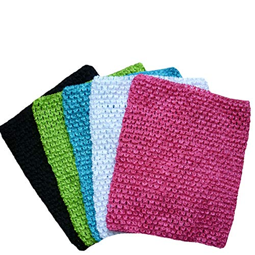 (KADIWOW 12 inch Crochet Top for 5-10 Years, Baby Toddlers Girl Crochet Tutu Tube Tops Chest Wrap Wide 5PCS (M1))