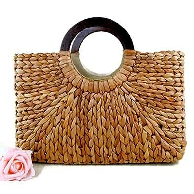 Top Handle Straw Handbag | Casual Women Satchel | Travel Tote | Everyday Large Bag (Khaki)