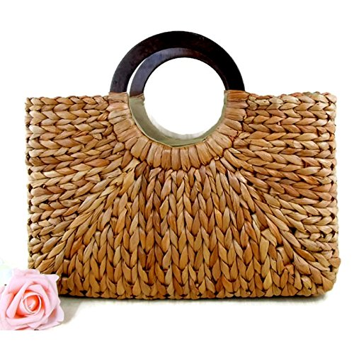 Purse Rattan Handle (Top Handle Straw Handbag | Casual Women Satchel | Travel Tote | Everyday Large Bag (Khaki))