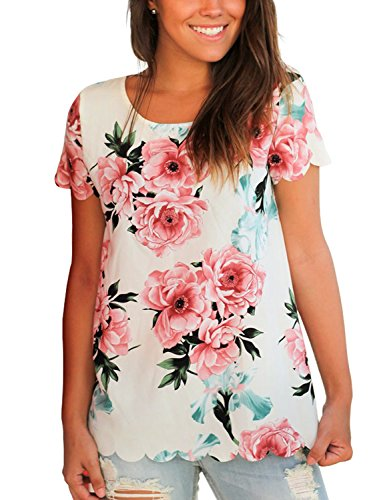Lookbook Store Women's Casual Short Sleeve Floral Printed Scalloped Blouse Tops T Shirt ,White,Size XX-Large (US 18-20)