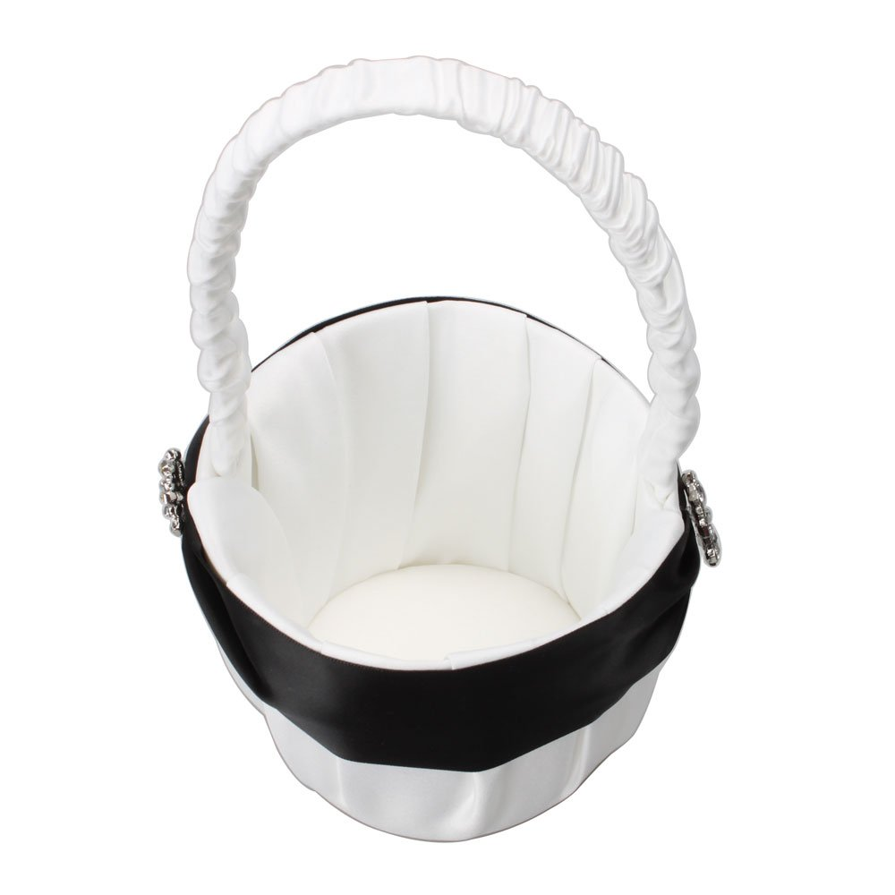 Amazon Olymstoretm Black And White Elegant Satin Ring Pillow