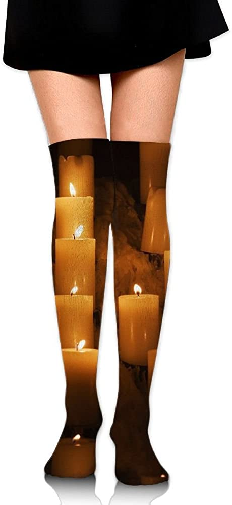 Women Crew Socksc Thigh High Over Knee Candle Lights Long Tube Dress Legging Athletic Compression Soccer Stocking