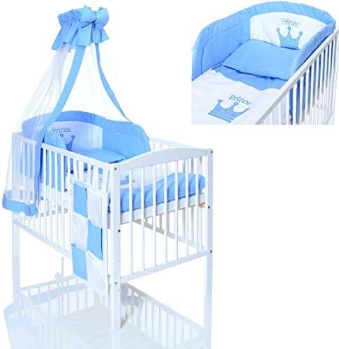 Lit Bebe Evolutif 120x60 cm Bois Blanc Bleu Prince avec Matelas Chambre Enfant