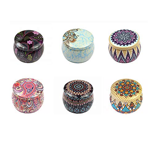 Candle Pretty Tin Jars 6 pcs DIY Tins with Lid Home Kitchen Storage Containers Candle Making Empty Small Containers for Cookies, Tea, Sweets, Jewellery and Objects (Style B) ()