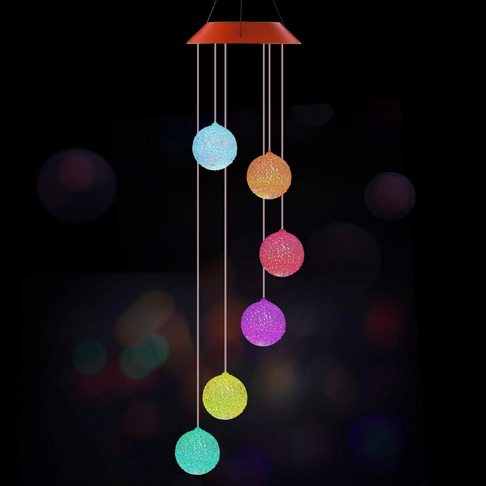 Joynic Solar Wind Chime LED Color Changing Wind Mobile Light Outdoor Decorative Romantic Hanging Ball Windbell Lamp for Home, Patio, Garden