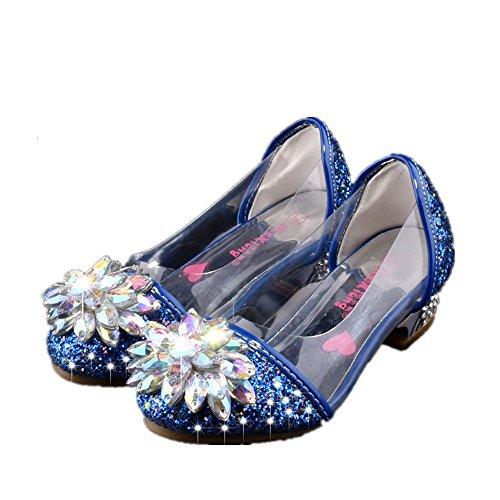 (Chic Princess Transparent Crystal Flower Sandals-(Blue-11 M US Little Kid))