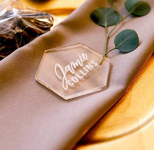 Amazon.com: Clear Hexagon Place Card Names For Wedding
