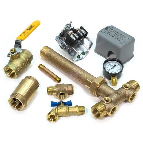 1 x 11 Tank Tee Kit with UNION + VALVES Installation Package for Water Well Pressure Tank with SQUARE D pressure switch NO LEAD (40/60 FSG2 Pressure Switch)