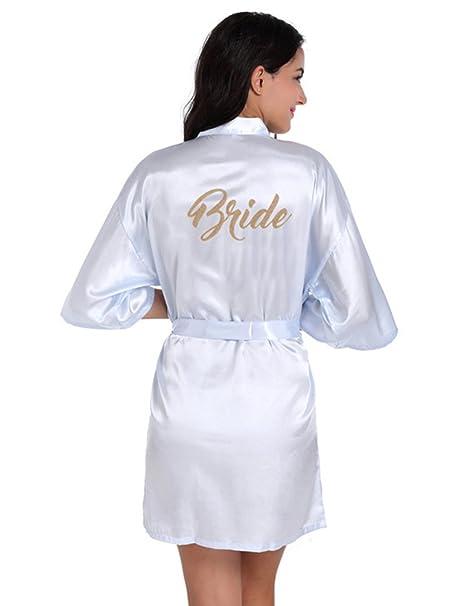 Cuckoo Vestido de Novia de Satén Robe Mujeres Corto Vestido de Dama de Honor Kimono para la Boda: Amazon.es: Ropa y accesorios