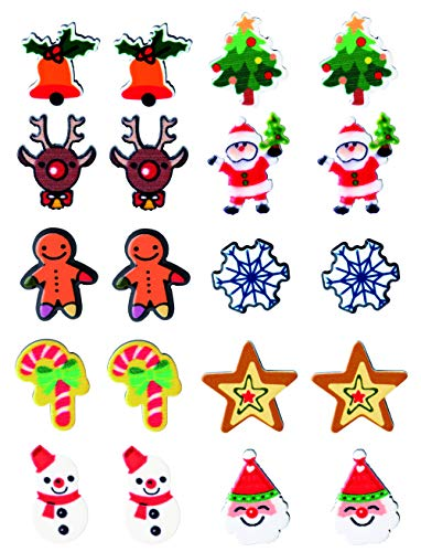 Hanpabum 10 Pairs Cute Stud Earrings Christmas Holiday Jewelry for Women Girls Kids Teens Santa Claus Deer Christmas Tree Jingle Bells Snowman Star Holiday Earrings