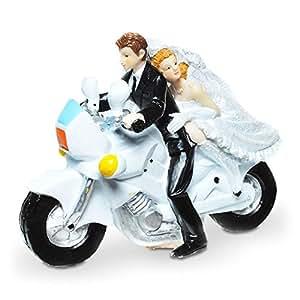 Figurine de mariés chevauchant une moto