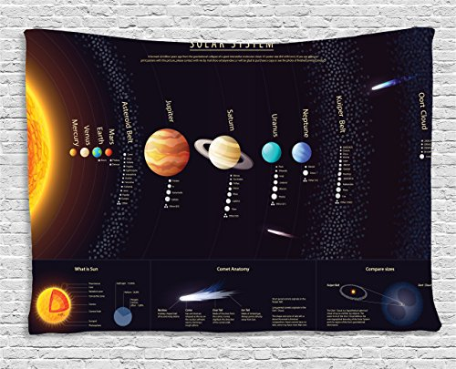 Ambesonne Outer Space Decor Collection, Detailed Solar System with Scientific Information Jupiter Saturn Universe Telescope Print, Bedroom Living Room Dorm Wall Hanging Tapestry, 60 W X 40 L, - Valentines Indoor Ideas Day