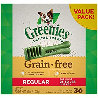 GREENIES Grain Free Regular Natural Dog Dental Care Chews Oral Health Dog Treats, 36 oz. Pack (36 Treats)