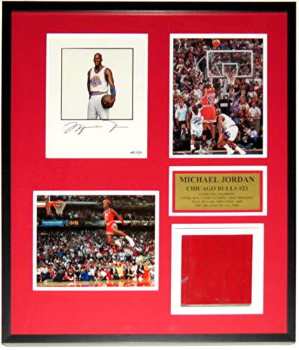 Michael Jordan Signed 3 8x10 Bulls Photograph Set - Upper Deck Authenticated UDA COA - Professionally Framed & Piece of Used Chicago Stadium Floor