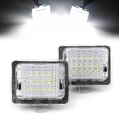e 18-SMD LED License Plate Light Lamp Replacement for 2007-2011 Mercedes Benz C-Class W204 5D/2005-2011 S-Class W221/2009-2011 E-Class W212 ()