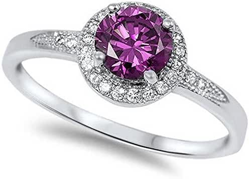 Halo Simulated Amethyst & Cubic Zirconia Fashion .925 Sterling Silver Ring Sizes 4-11 RC104781-AM