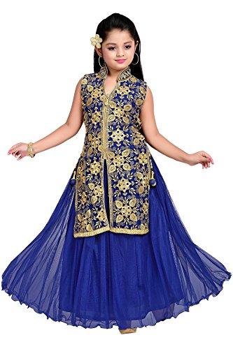Aarika Girl's Blue Self Design Party Wear Gown (G-2010-BLUE_40_15-16 Years) by Aarika