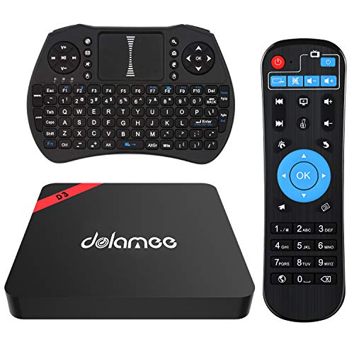 Android 7.1 TV Box, Dolamee D3 2GB RAM 16GB ROM Smart TV Box Amlogic S905 Quad Core with Mini Keyboard Support Bluetooth 4.0 WiFi HDMI 3D