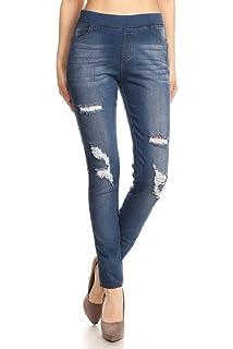 85127fff54f Women s Stretch Pull-On Skinny Ripped Distressed Denim Jeggings Regular-Plus  Size
