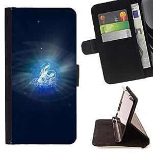 BullDog Case - FOR/Apple Iphone 6 / - / Cancer Zodiac Sign /- Monedero de cuero de la PU Llevar cubierta de la caja con el ID Credit Card Slots Flip funda de cuer