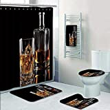 Philip-home 5 Piece Banded Shower Curtain Set Glass of Whiskey with ice and a Square Decanter Isolated on a Black Pattern Printing Suit